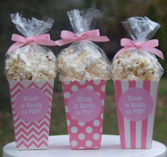 12 Custom Popcorn Box Favors Personalized Labels Baby Shower