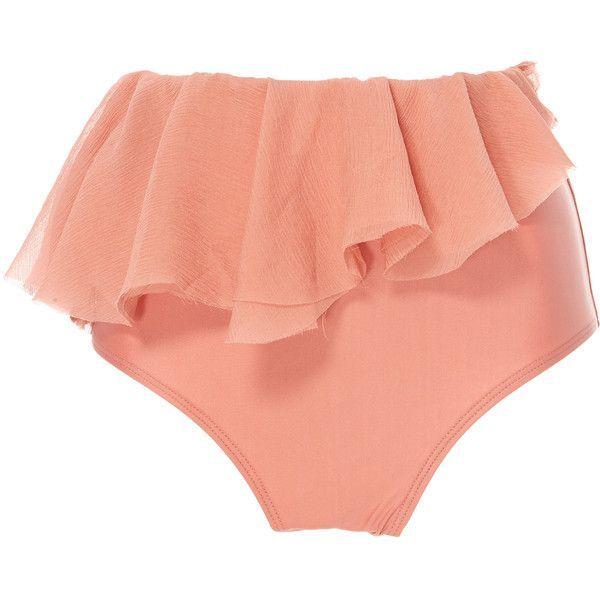 59d498b18b Agua de Coco High Waisted Ruffle Bikini Bottoms ($255) ❤ liked on Polyvore  featuring