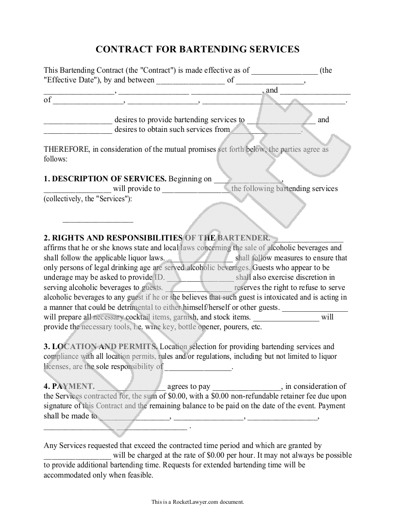 Sample Bartending Contract Form Template  Bartending