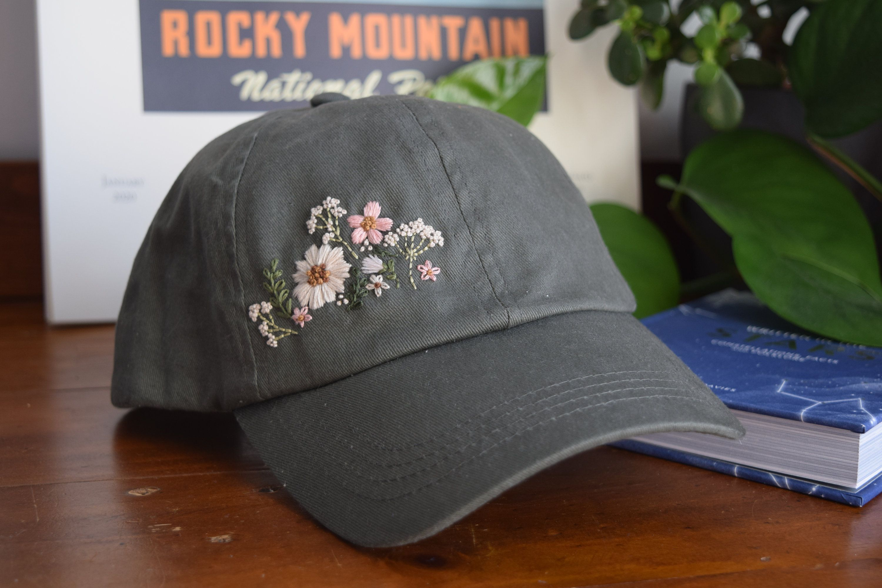 Photo of Wildflower Hand Embroidered Cotton Baseball Hat – Embroidery – Women's Hat – Hiking Hat – Dad Hat – Snapback – Gift – Baseball Cap