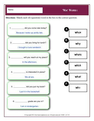 Worksheet | 'Wh' Words | Match each wh (question) word ...