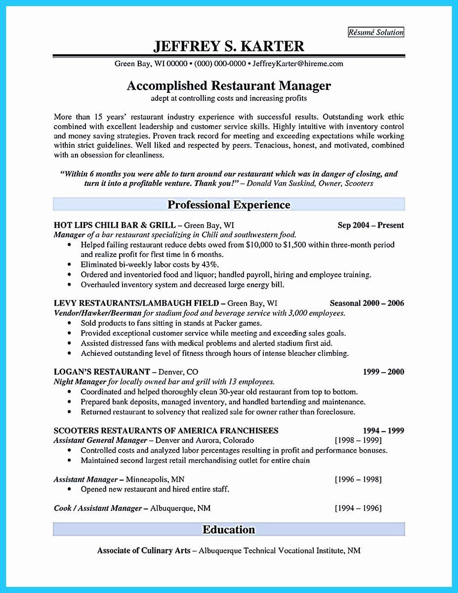 Bar Manager Job Description Resume Luxury Brilliant Bar