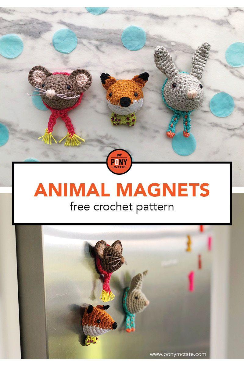 Cute animal magnets // free crochet pattern | Mini CROCHET ...