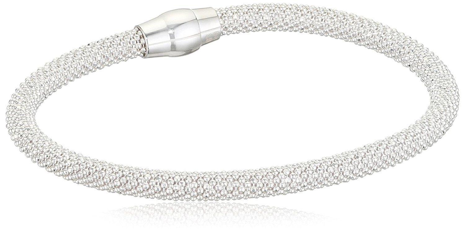 Elements Silver B4141 Las Popcorn Sterling Bracelet With Magnetic Clasp Length Of 19 Cm