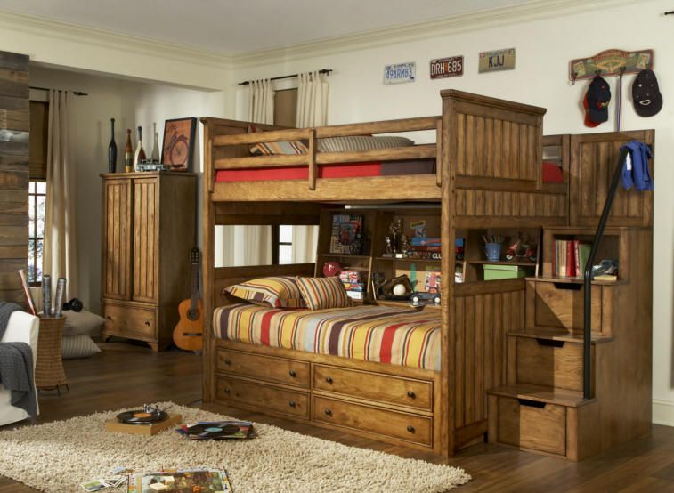 Estes Park Full over Full Stairway Bunk Bed In Love 3 More