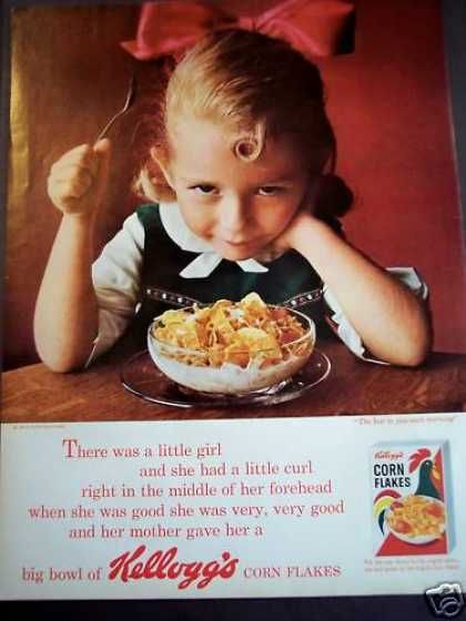 Little Girl Eating Kellogg S Corn Flakes Cereal 1963 Food Ads