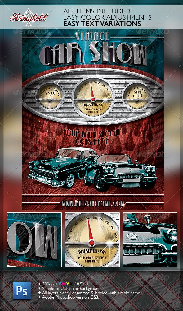 Vintage Car Show Dashboard Flyer Template Flyer template - car flyer template