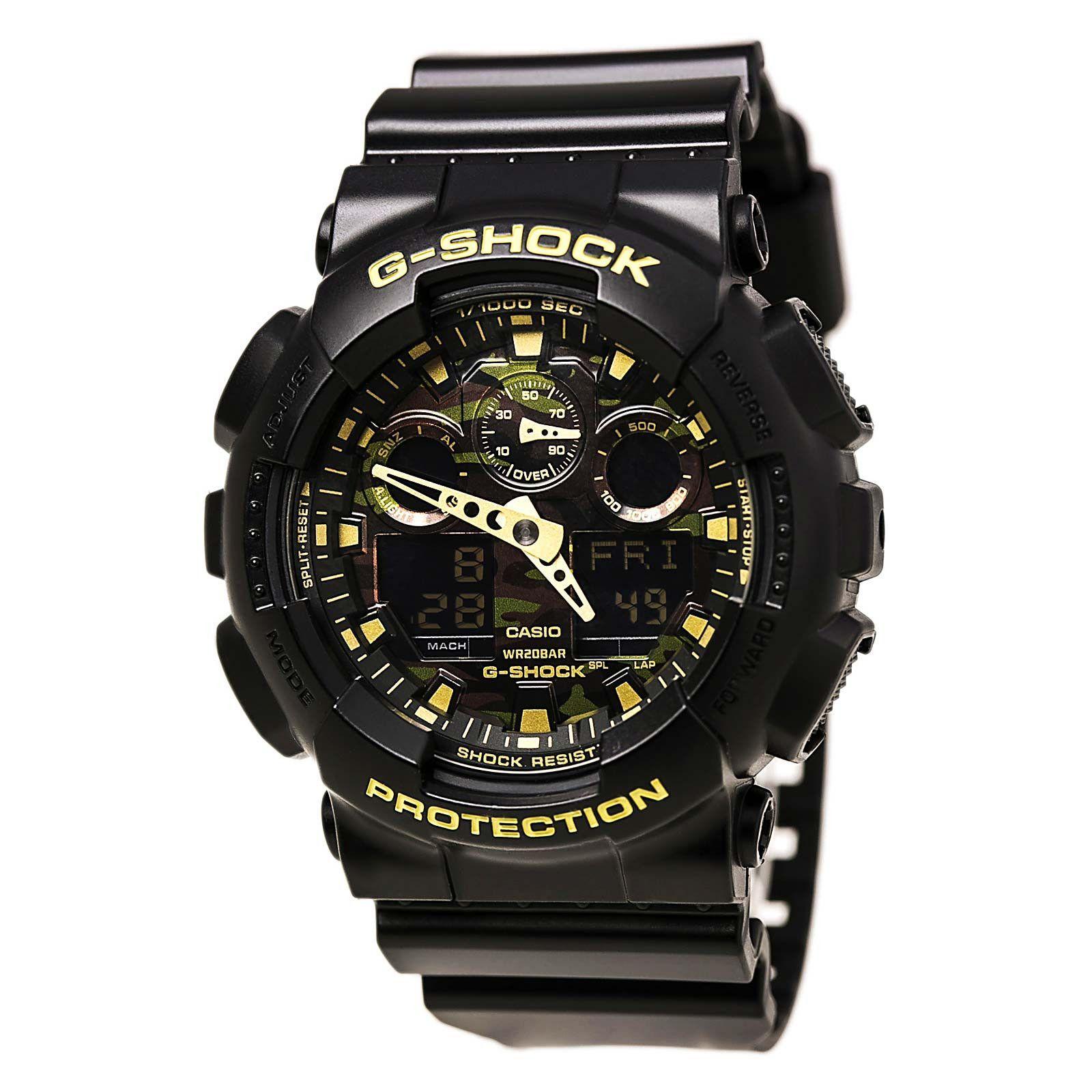 Casio GA100CF-1A9 Men's G-Shock Ana-Digi Camouflage Dial Black Resin Strap Dive Watch