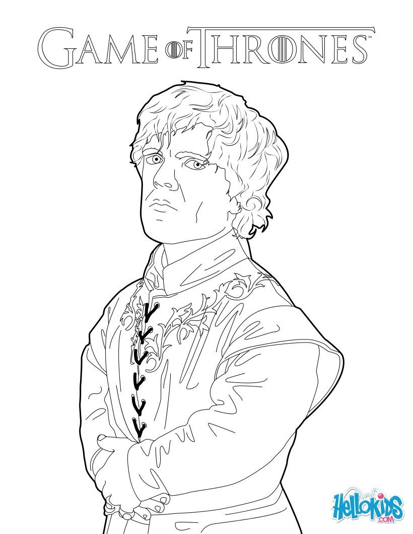 Game Of Thrones Tyrion Lannister Coloring Page More Game Of Thrones Coloring Sheets On Hellokids Com Game Of Thrones Drawings Coloring Books Coloring Pages