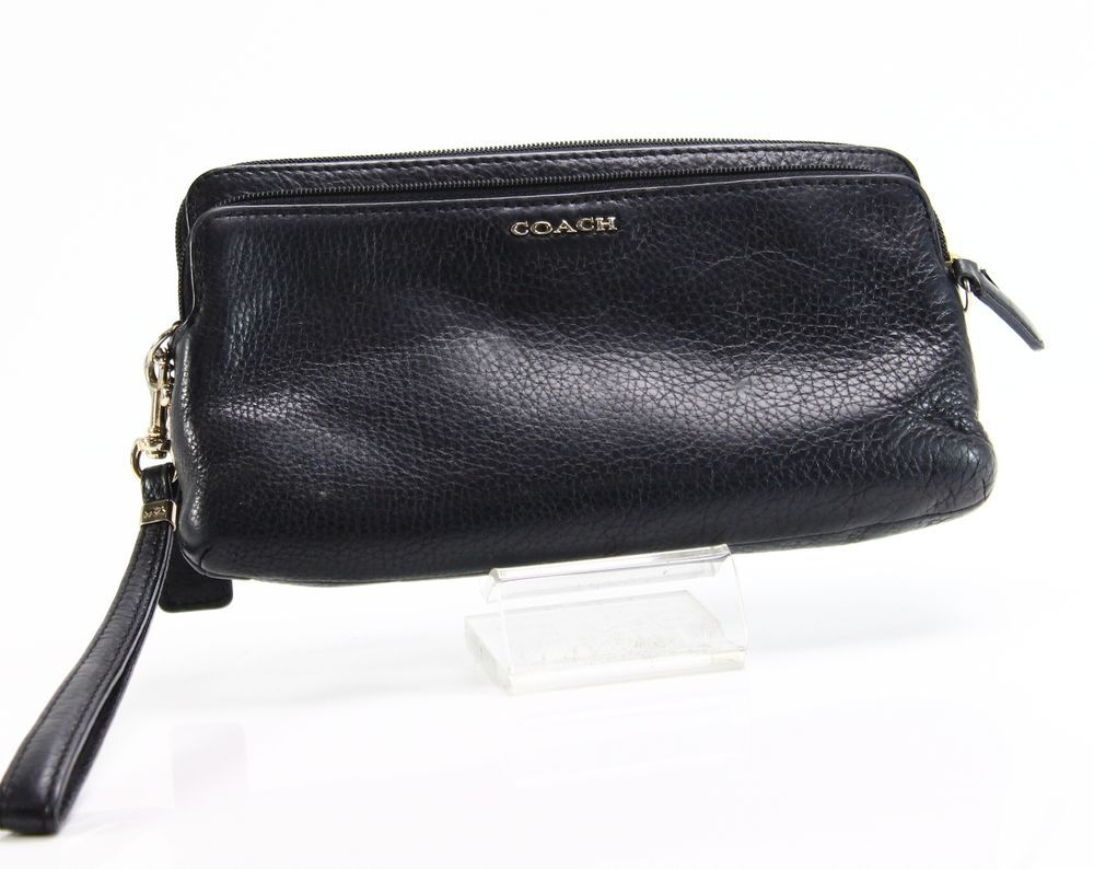 Coach New Black Gold Double Top Zip Wristlet Leather Handbag Purse 125 038 Fashion Clothing Shoes Accessories Womensbagshandbags Ebay Link