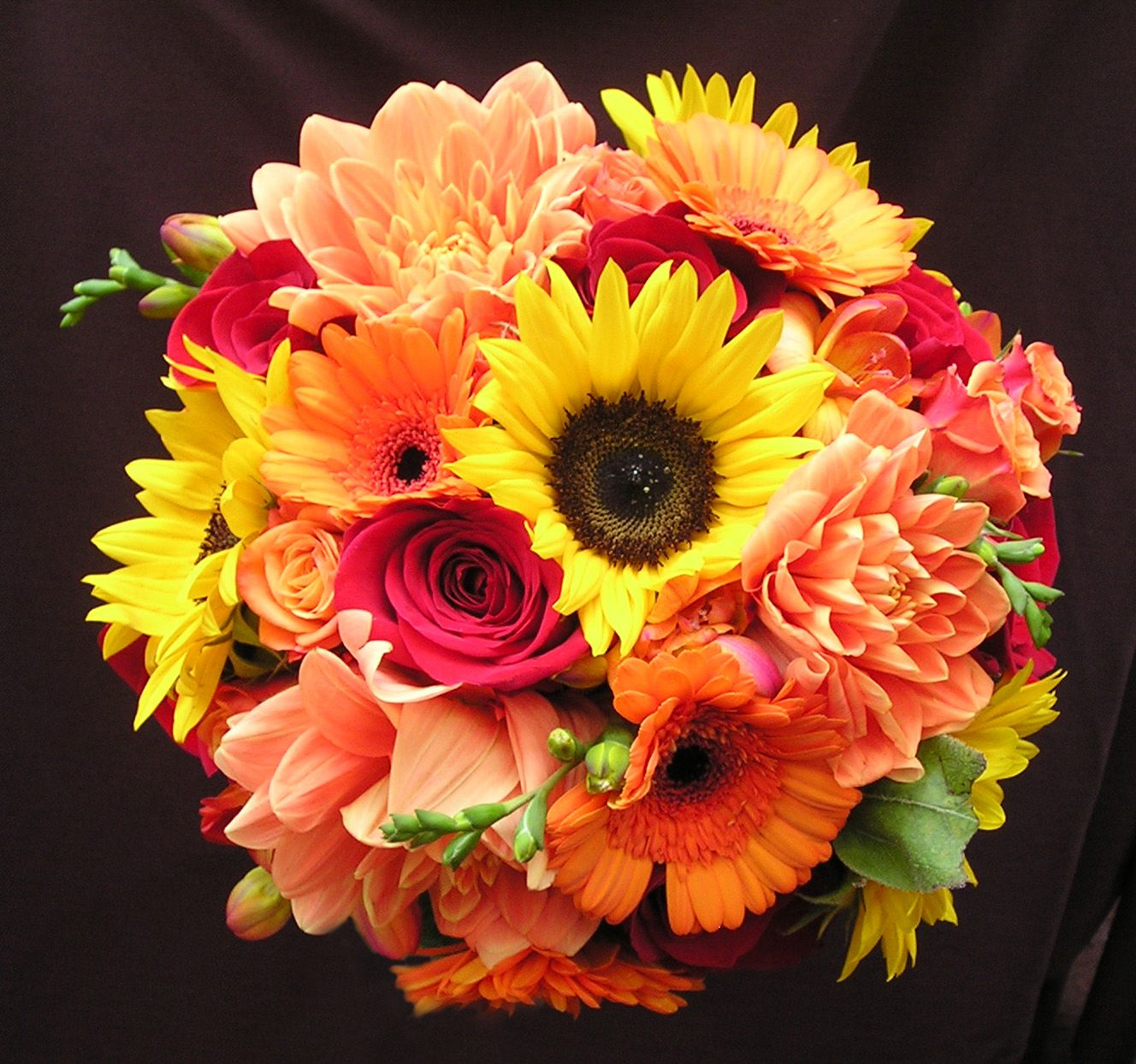 Hand Tied Bouquet Of Sunflowers Peach Dahlias Orange