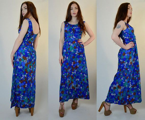 3ba2f895be0 Summer essential! 1960s floral Hawaiian maxi. Done in a cotton broadcloth  material. Deep
