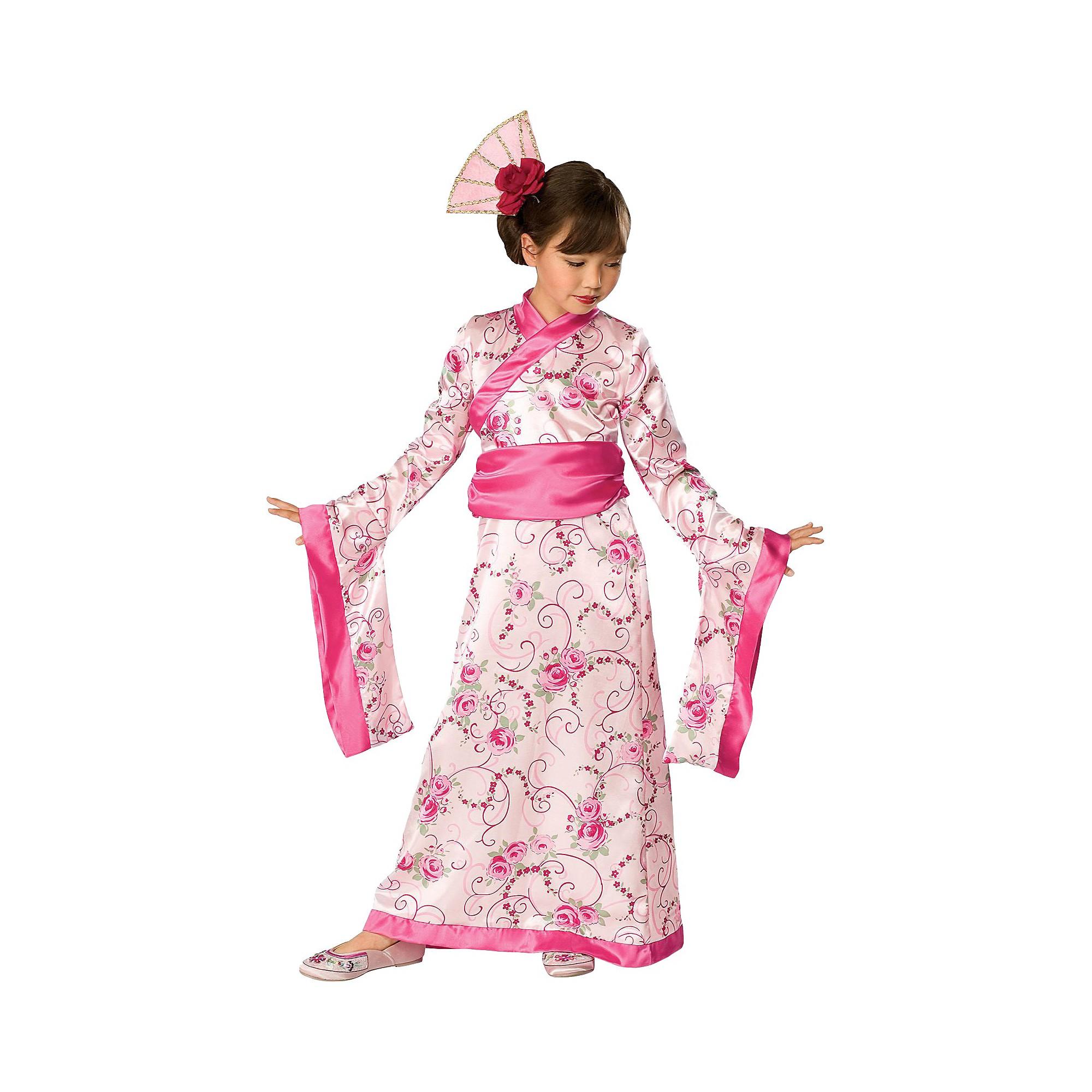 Geisha Pink Asian Princess Kimono Girl Fancy Dress Up Halloween Child Costume