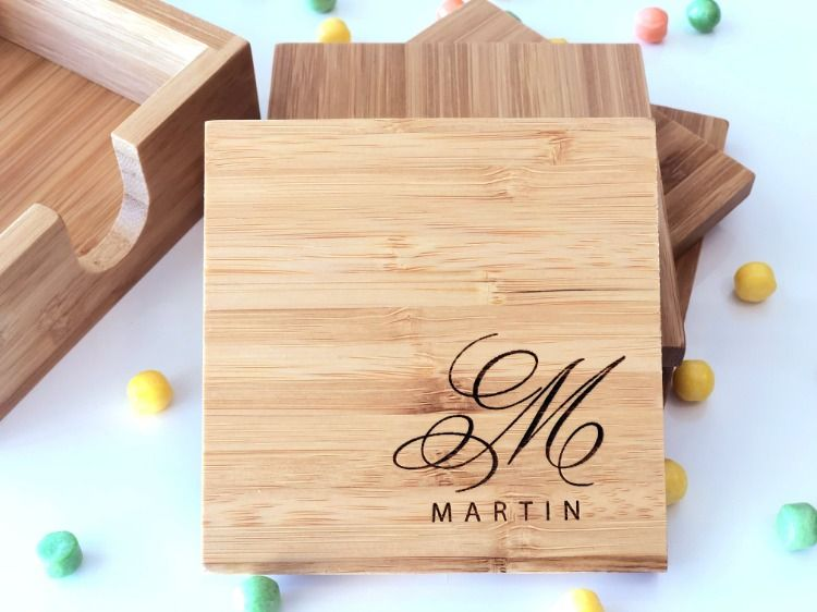 4 Personalized Coasters Engraved Coaster Set Bamboo Coasters Monogrammed Gift Rustic Wood Engraved Coasters Personalized Coasters Rustic Coasters