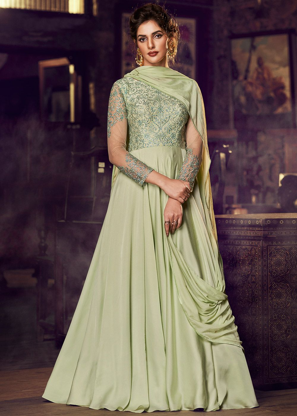 Readymade Green Embroidered Gown Style Suit With Dupatta