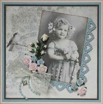 Sweet Victorian style heritage child's page with lovely heart punched frame.