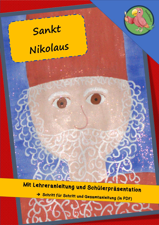 Nikolausbild Mit Glitzereffekt Unterrichtsmaterial In Den Fachern Fachubergreifendes Kunst Nikolaus Nikolaus Bilder Kunst Grundschule