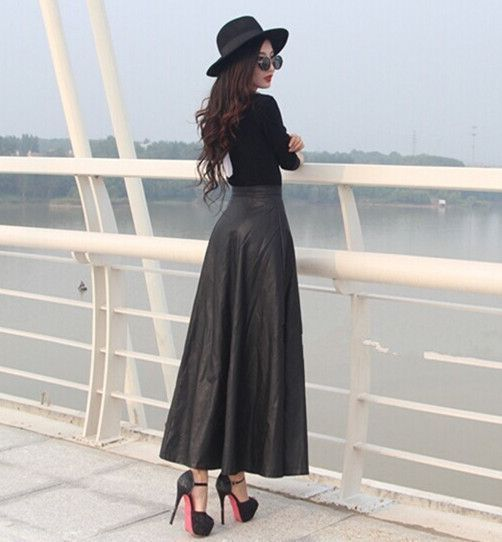 52a080d3a9 Fall 6XL 7XL Plus Size Woman Faux Leather High Waist Pleated Skirt Long  Warm Skirts Winter Long Maxi Skirts For women