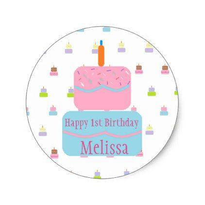 Happy 1st birthday personalized stickers birthday gifts party celebration custom gift ideas diy
