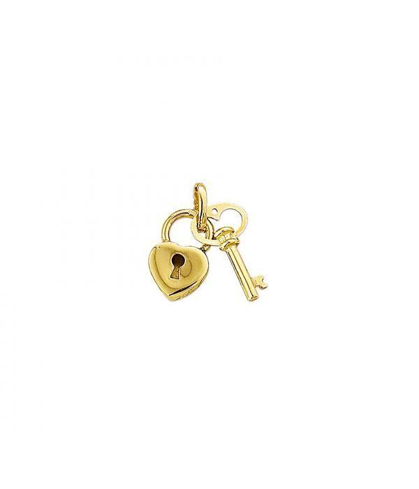 3D gouden bedel: sleutel met hart € 105,-