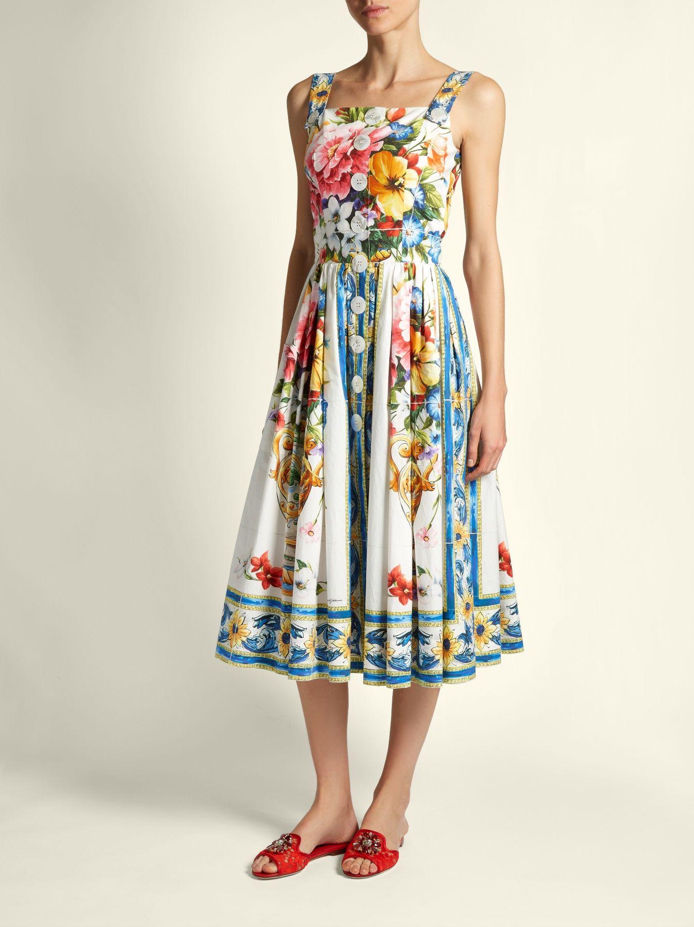 fa99772b5c43 Click here to buy Dolce & Gabbana Majolica-print sleeveless cotton-poplin  dress at MATCHESFASHION.COM