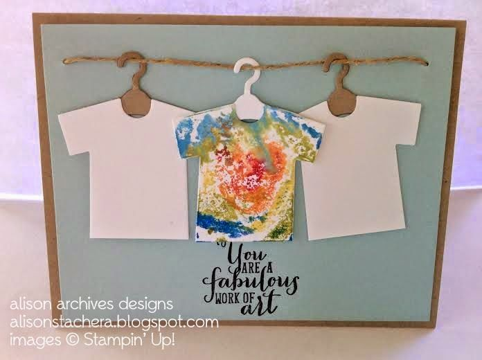 To make the tie dye t-shirt: Take a clear block and swirl different bold colors with your markers. Then, spritz the block with your Stampin' Spritzer filled with water. Then, just stamp the clear block on your t-shirt