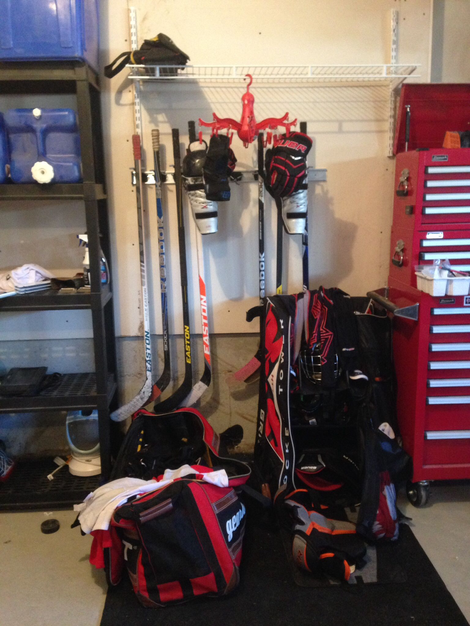 Hockey Equip Organized For This Season Hockey Equipment Hockey Equipment Storage Hockey Organization