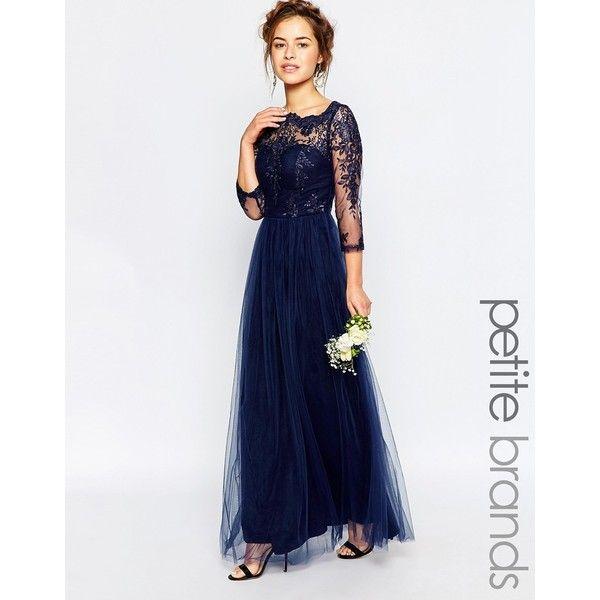 Chi Chi London Petite Bardot Lace Maxi Dress 105 Liked On Polyvore Featuring Dresses Navy Petite W Petite Formal Dresses Lace Maxi Dress Petite Dresses