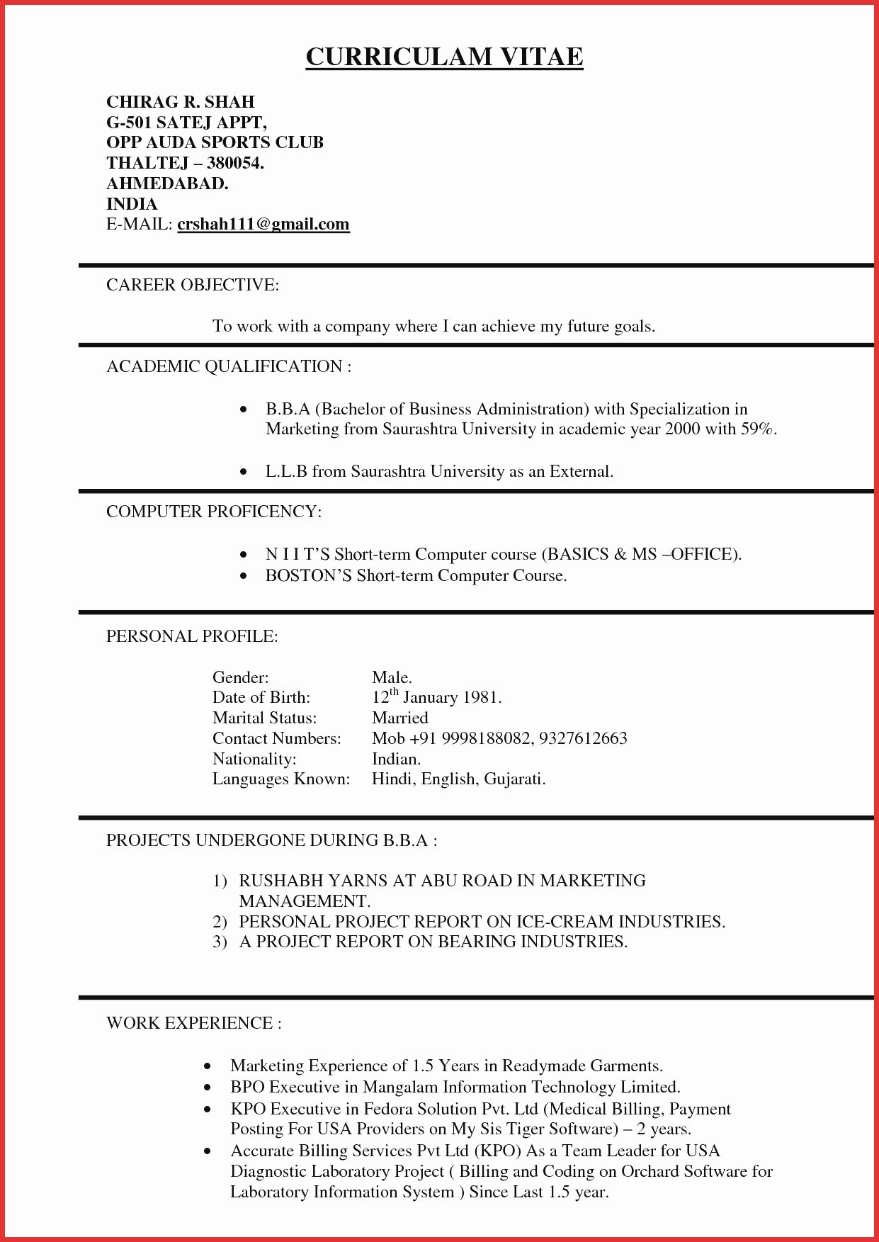 Experience In Marketing Resume Resume Format 3 Years Experience Marketing Experience Format