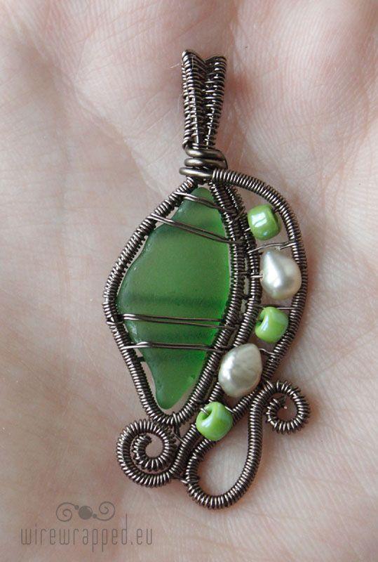 Emerald green seaglass pendant by ukapala on deviantART
