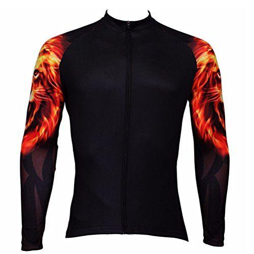 Uriah Men s Cycling Jersey Long Sleeve Gold Lion Size XL(... https ... 64949f794