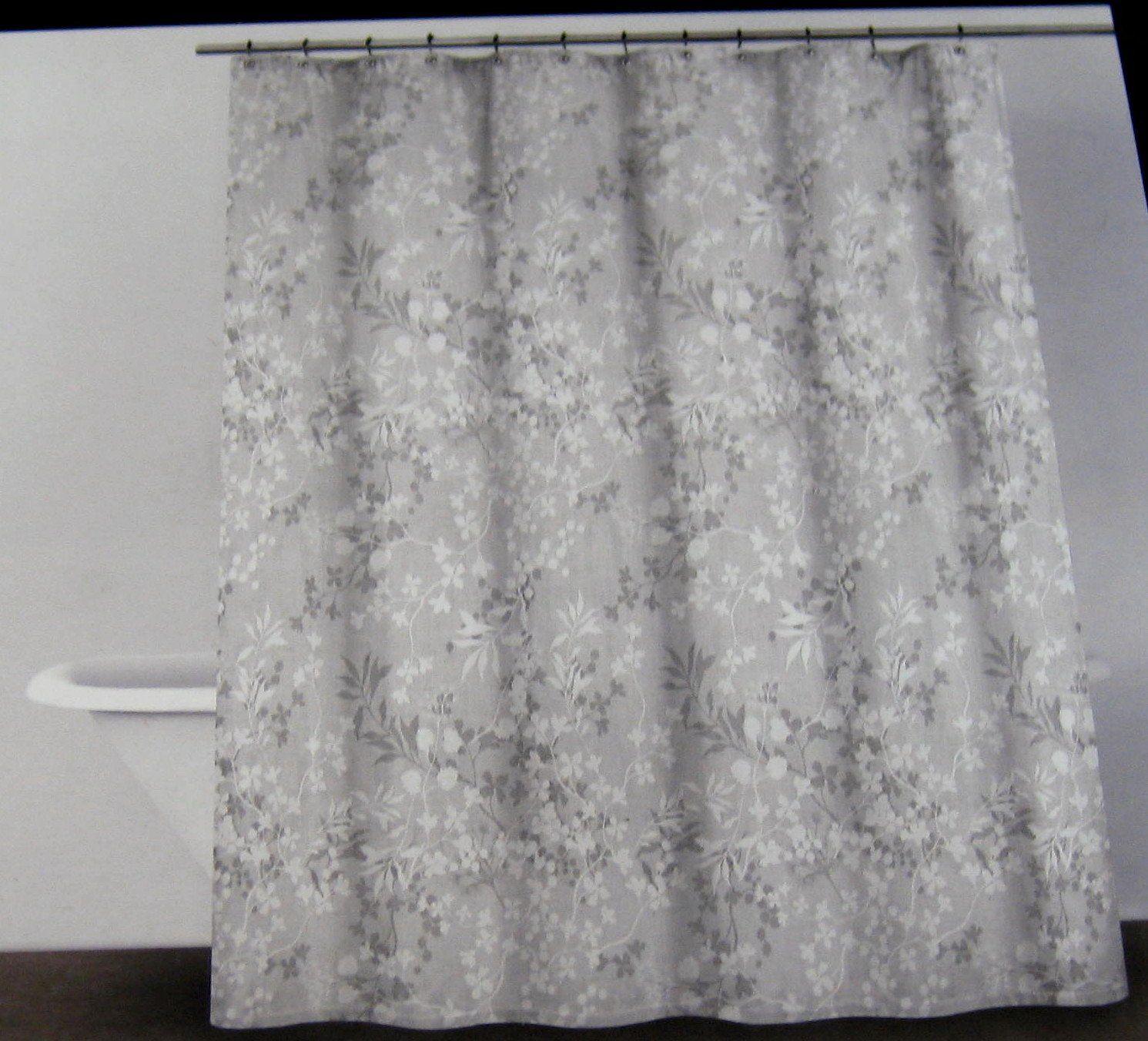 Amazon Com Dkny Of Ny Delphine Floral Fabric Shower Curtain