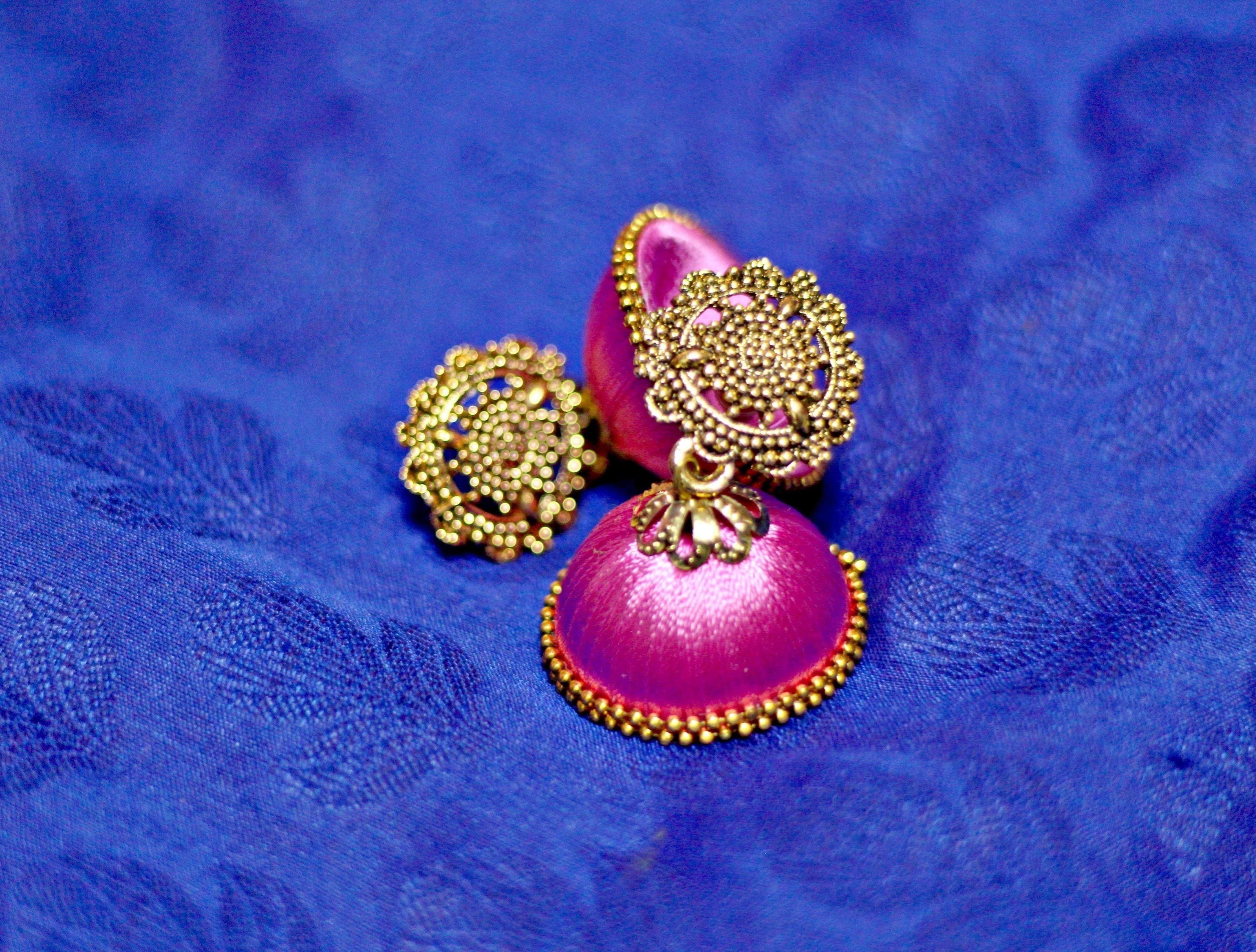 Shop Bandung Pink Threaded Jhumbka with bronze flower