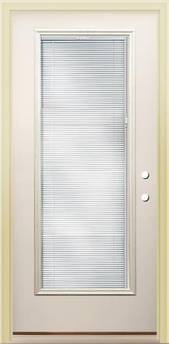rt 8 full lite prehung steel door with blinds between the