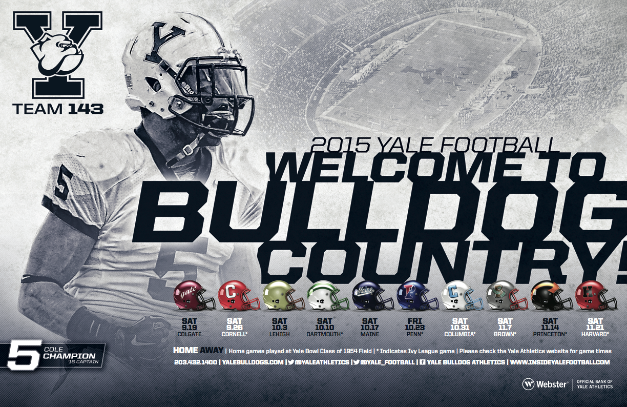 Yale Football Poster Schedule Card 2015 Football Cards