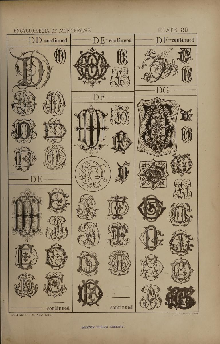 An Encyclopaedia Of Monograms Containing More Than Five Thousand Examples Of Two Three Four Letter Combinations In The English French German And Antiq Monogram Lettering Illuminated Letters