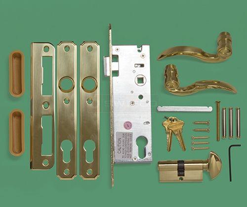 Brass Atrium Door Lever Lockset