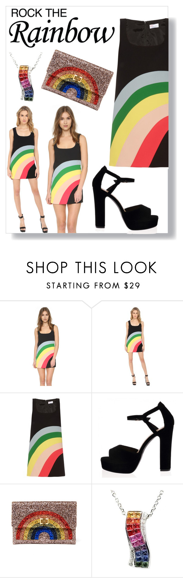 """""""Rocktherainbow"""" by snowboarder17 ❤ liked on Polyvore featuring moda, RED Valentino, Anya Hindmarch, women's clothing, women, female, woman, misses, juniors e RockTheRainbow"""