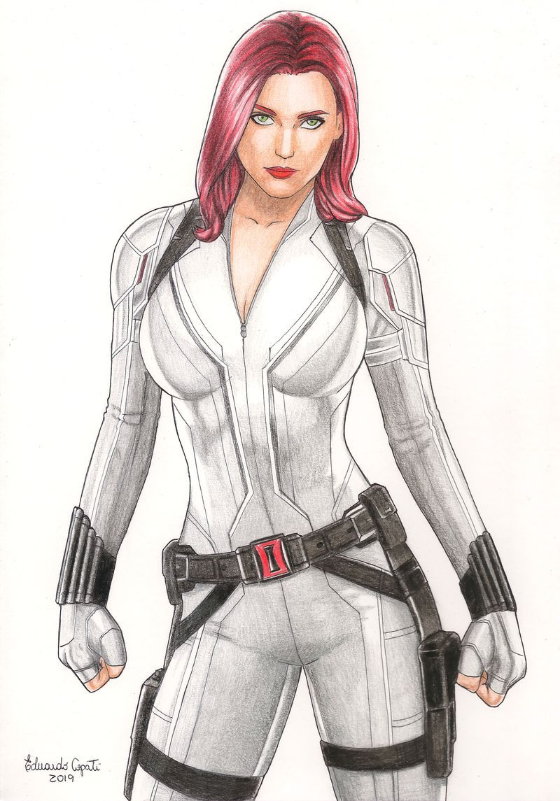 Scarlett Johansson Black Widow White Costume Cosplay Diy Guide Ultimate Jackets Blog Black Widow Marvel Black Widow Drawing Black Widow Cosplay