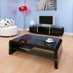 Coffee Table Rectangular Black Gloss Glass Shelf Modern AG Studios 90A  1200x700 Black Gloss Coffee Table