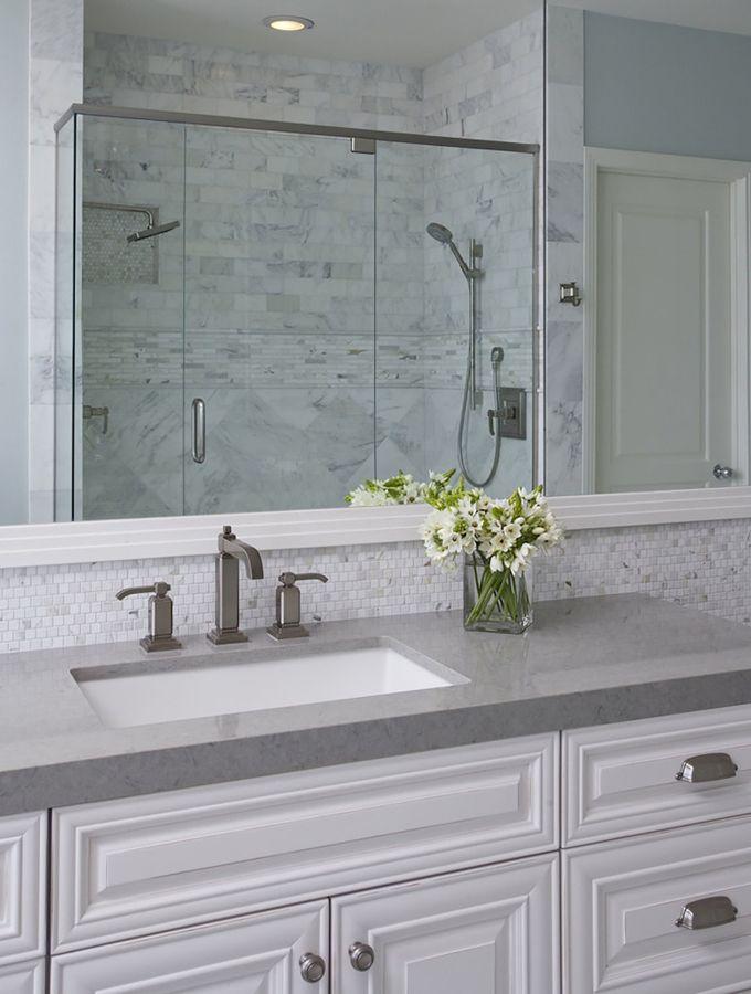 Pretty Bathroom Tiles In Backsplash Amp Shower Gray