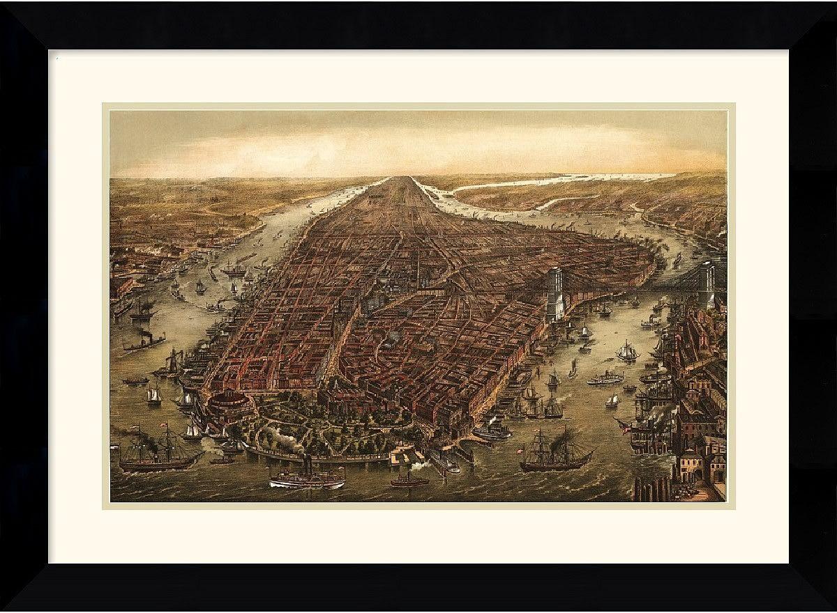 "0-008611>28x21"" Ward Maps New York 1873 Framed Print"