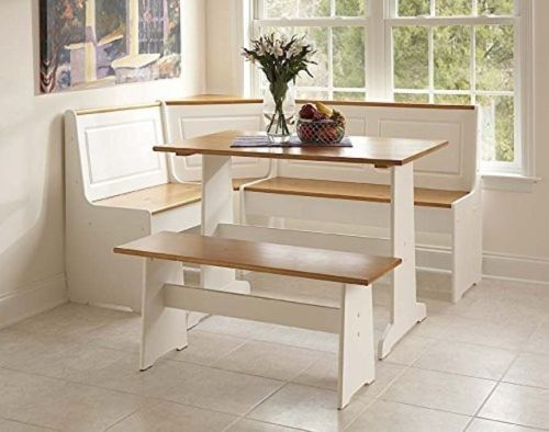 9pc Wooden Dinette Table Set With Bench Corner Nook Country Farm