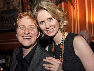 """Cynthia Nixon & wife Christine Marinoni.  Here Come the Brides: Reflections on Lesbian Love and Marriage--Library Journal called it """"required reading for all students of civil rights and marriage equality.""""  http://www.indiebound.org/book/9781580053921"""
