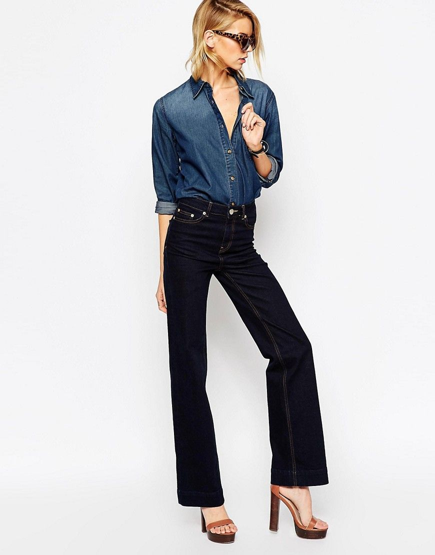 ASOS+Bianca+Flare+Jeans+In+Indigo+With+Contrast+Stitching