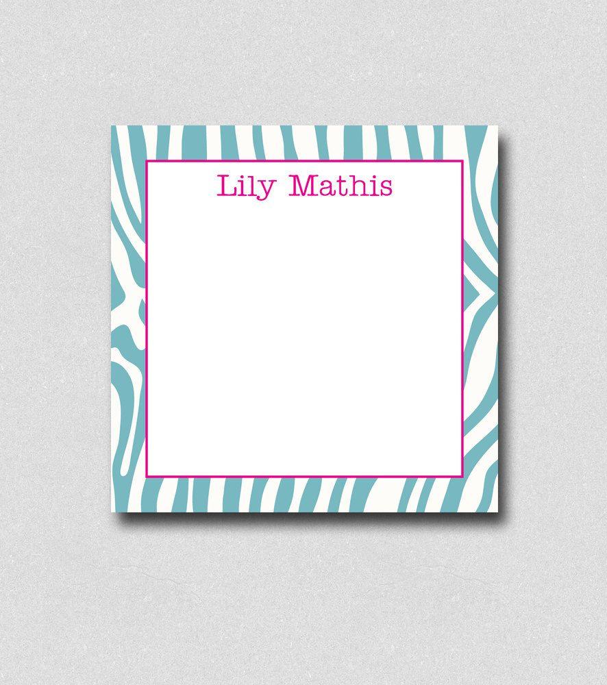Monogram Notepads Zebra print Stationery