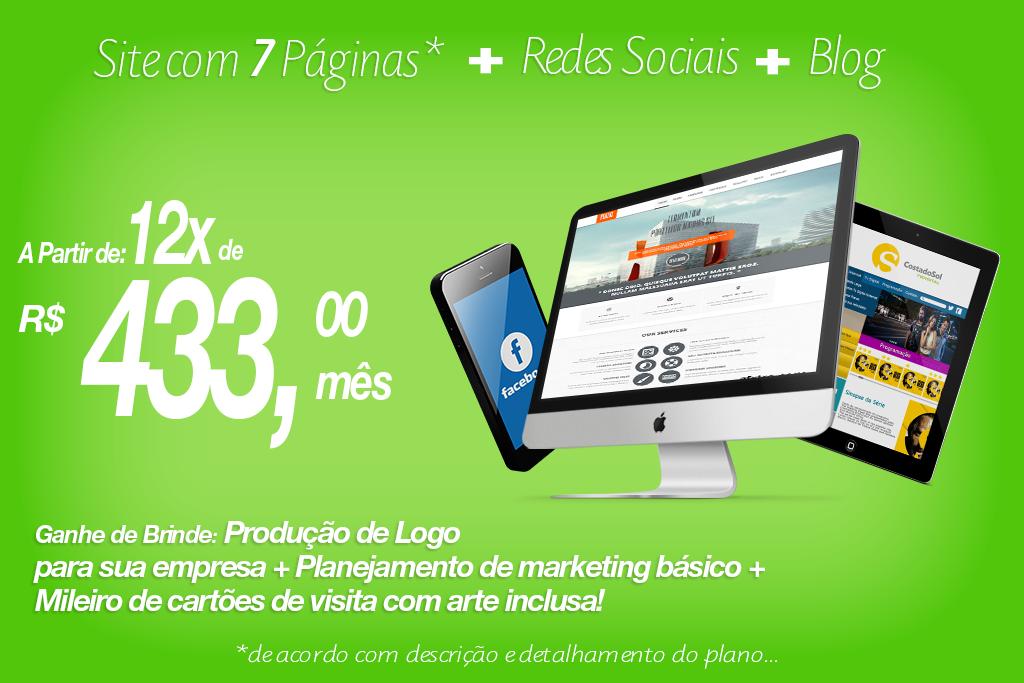 Pacote Conectado  Site com 7 Páginas + Blog + Redes Sociais!  Ganhe de BRINDE Planejamento de Marketing Básico, Criação de Logo, Mileiro de cartões de visita com arte inclusa!