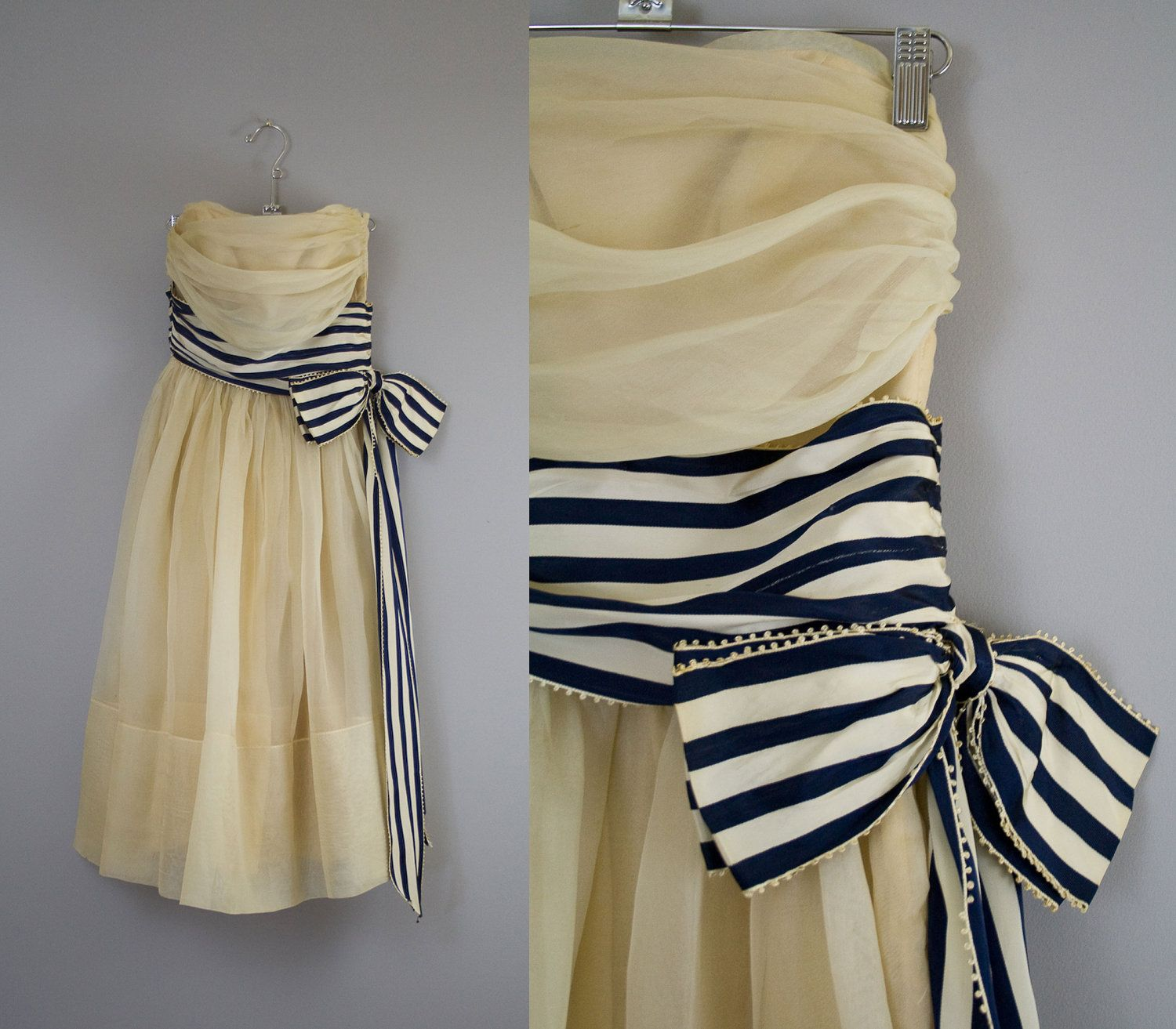 Reserved vintage s prom dress s cream gown with striped bow