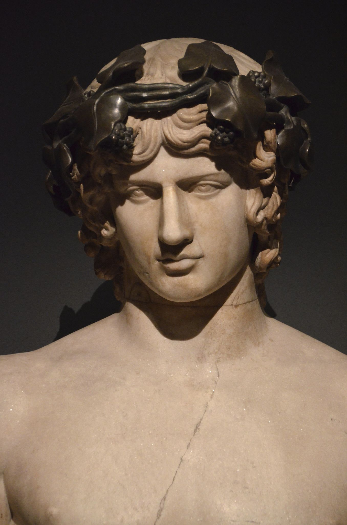 Marble bust of Antinous, on loan from the Hermitage Museum, Exhibition: A Dream of Italy The Marquis Campana's Collection, Musée du Louvre