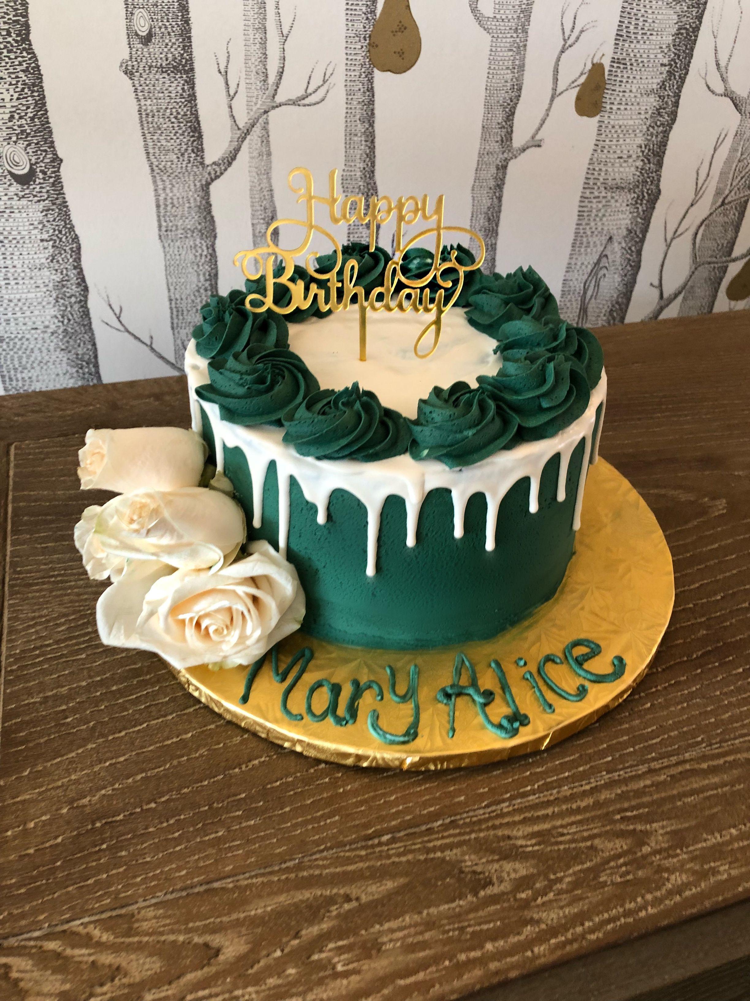 Remarkable Emerald Green Birthday Cake Green Birthday Cakes Birthday Cake Personalised Birthday Cards Veneteletsinfo